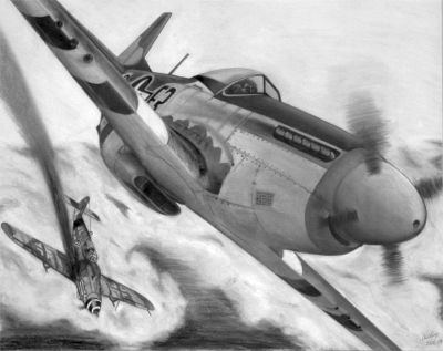One of my early P-51 pastel drawings